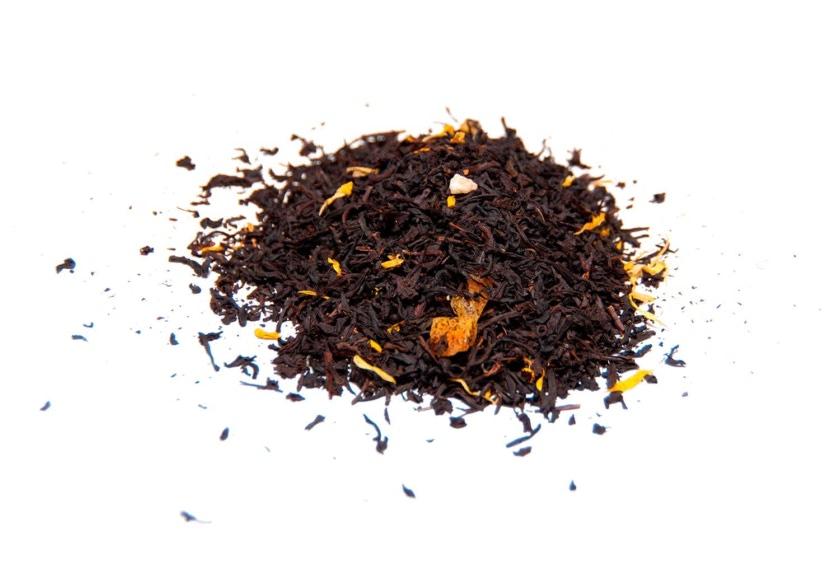 Té de mango Té negro con trozos de mango, pétalos de girasol