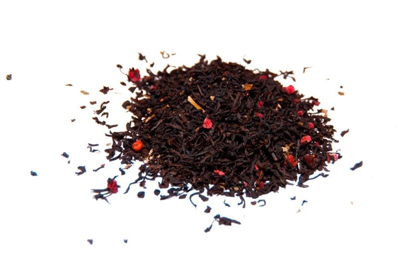 Té de frambuesa Té negro con trozos de frambuesa