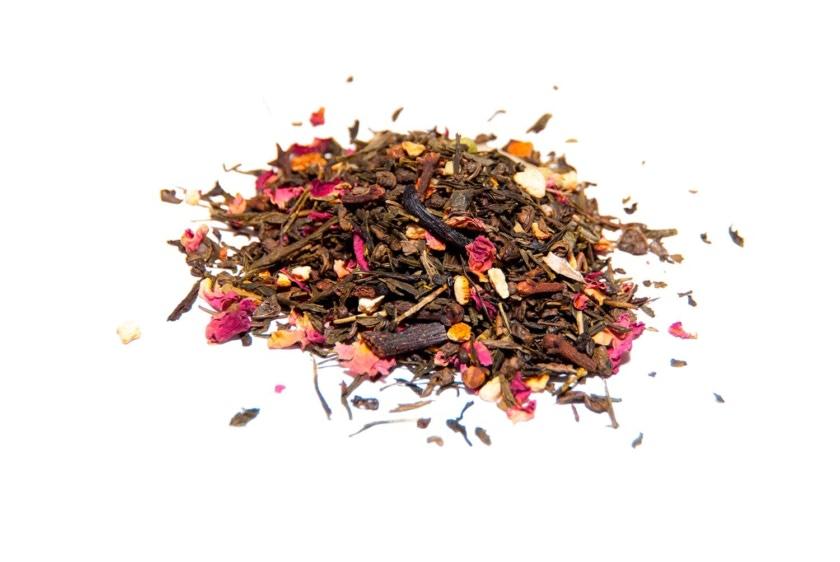 Té Aromas del Generalife Té verde (Sencha y Gunpowder) con clavo, vainilla, corteza de naranja, almendras, cardomomo
