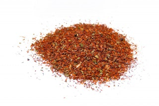 Té Rooibos choco-menta. Rooibos (rooibusch) con trozos de chocolate y hojas de menta