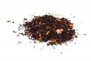 Té Tropical Té negro con trozos de mango, pétalos de girasol y rosas