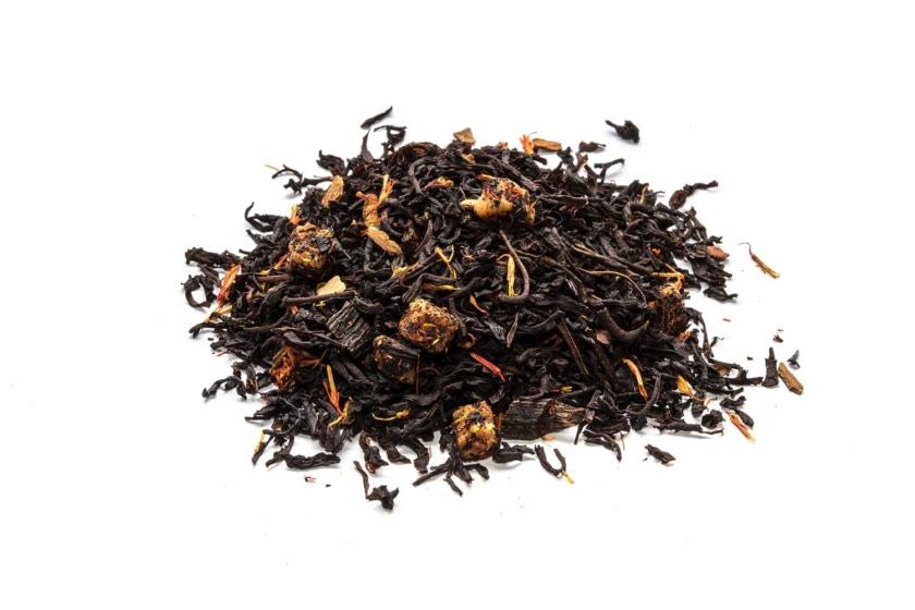 Té Pionono Té negro con trozos de vainilla, caramelo, canela, flor de cártamo