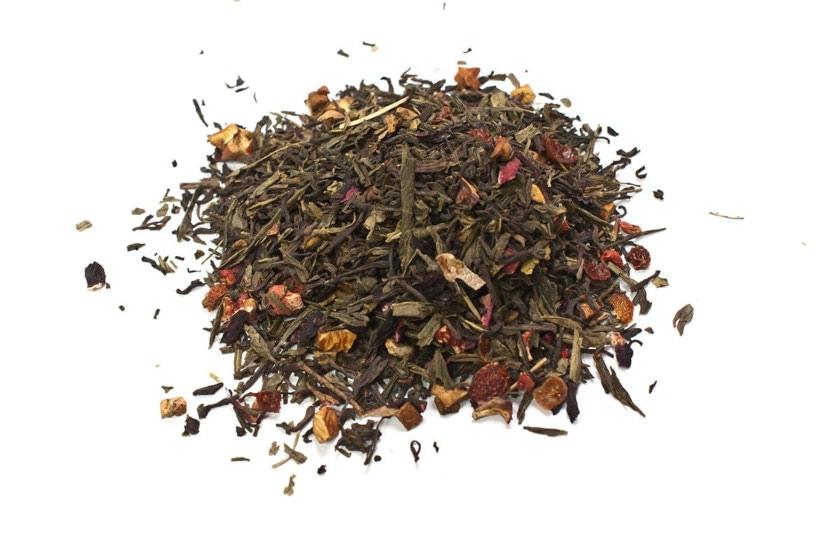 Té Silueta de verano Té rojo y verde Sencha, con trozos de fresa, manzana, kiwi, hibisco, escaramujo