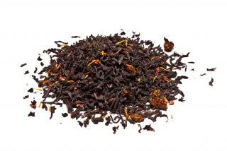 Té Rubí de Granada Té negro con granos de granada, frambuesa, flor de cártamo, pétalos de rosa