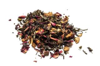 Té Blanco Granada romántica Té blanco con granos de granada, trozos de manzana, hibisco, pétalos de rosa y aroma natural.