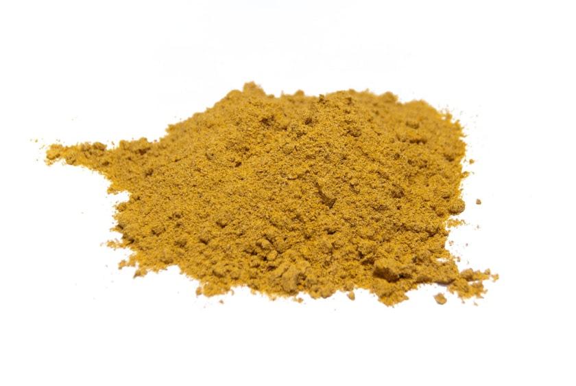 Curry. Mezcla de especias, Curcuma, pimienta blanca, macis,mostaza, cilantro, jengibre, clavo,cardomomo, canela, cayena y anis