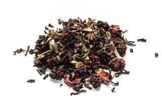 Té rojo frutas del bosque Té rojo con arándanos, moras, cerezas, hojas de fresa, hibisco