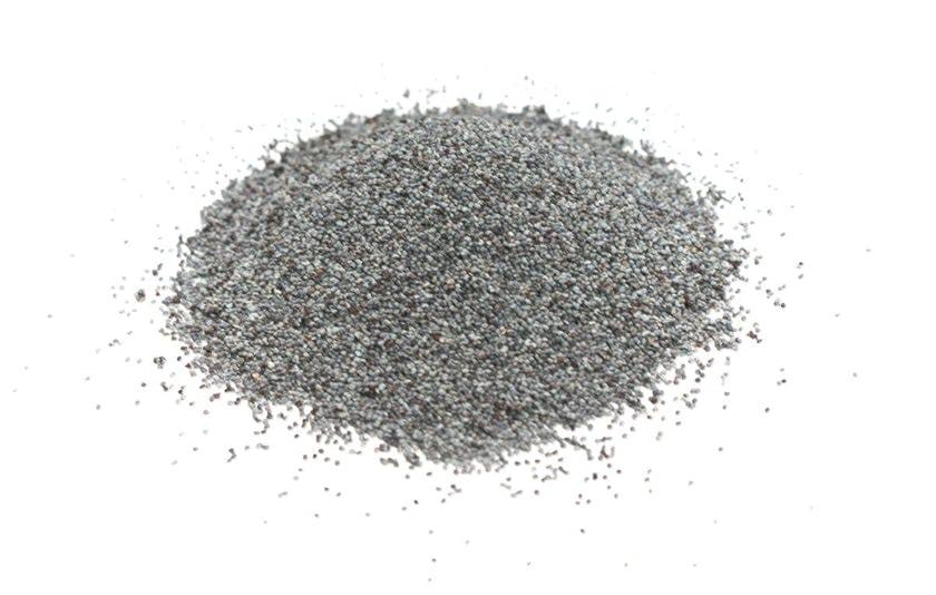 Semillas de amapola. Diminutas semillas arriñonadas de color azul pizarra tienen sabor a nuez y textura crujiente