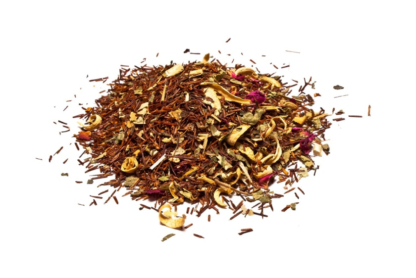 Rooibos Relajante Rooibos con tila, melisa, hierbaluisa, pasiflora, pétalos de rosa, azahar