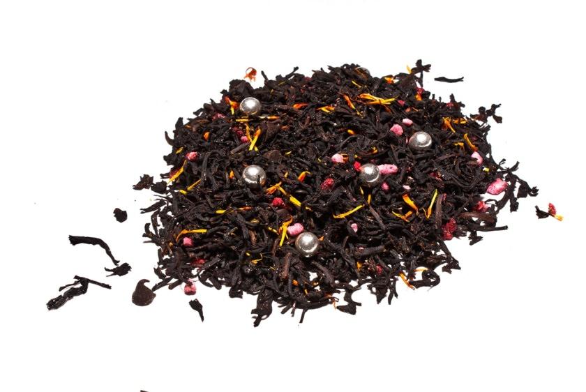 Té Bombón de Navidad Té negro con chocolate, perlas de azúcar, frambuesa, flor de cártamo
