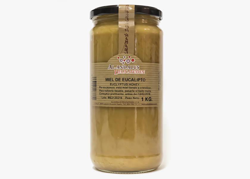 Miel de eucalipto de la Alpujarra, bote de 1 kilo. Selección de mieles en Especiasbarranco.com
