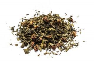 Té Champan con fresas, con base de té verde, hojas de fresa y pasa