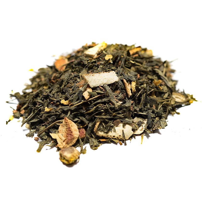 Venta de Té verde naranja Sencha con corteza de naranja, trozos de canela, pétalos de girasol y aroma natural.