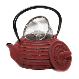 Tetera de hierro fundido color rojo con filtro, modelo Java de 1000ml de capacidad