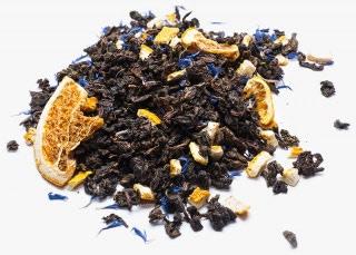 Té Azul mediterráneo oolong con corteza de naranja, rodajas de cítricos y aciano
