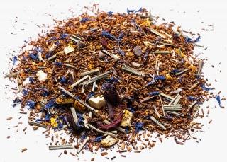 Rooibos kalahari (rooibusch) con cacao, lemon grass, corteza de naranja, hibisco y pétalos de aciano