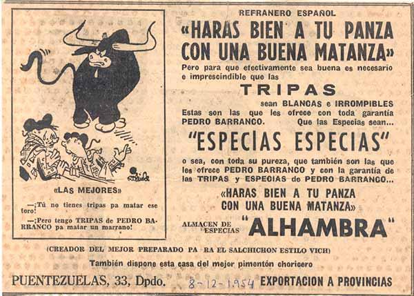 """Anuncio de la época. 1941. """"Especias especias"""""""