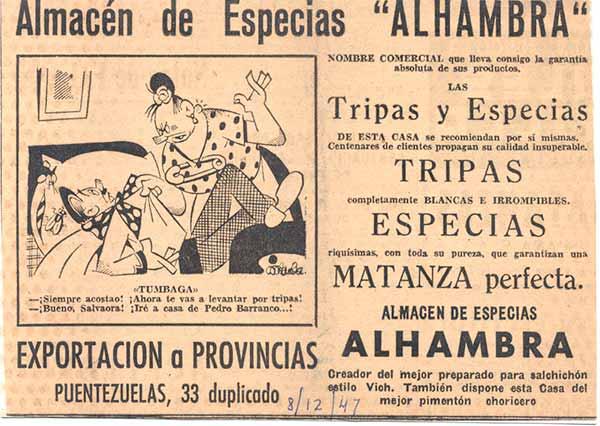 Anuncio de la época. 1941. - Siempre acostado! ¡ Ahora te vas a levantar por tripas - Bueno Salvadora, Iré a cada de Pedro Barranco!